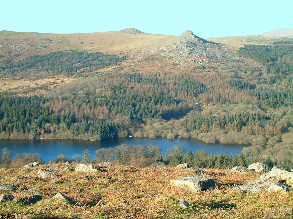 View from Sheeps Tor across Burrator Reservoir to Leather Tor and Sharpitor